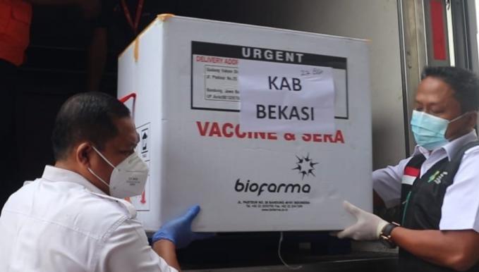 Vaksin Covid-19 yang tiba di Kabupaten Bekasi. Ist/Suara Bekasi Online